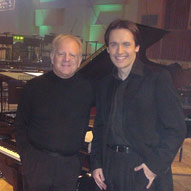 With conductor Leonard Slatkin, recording Rosza's Spellbound Concerto with the BBC Symphony Orchestra